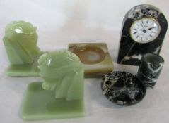 Assorted marble and onyx inc horse book ends