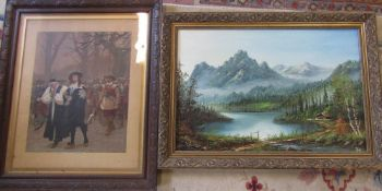 Oil on board of a mountainous landscape by David W Wilkinson signed and dated 1984 87 cm 63 cm