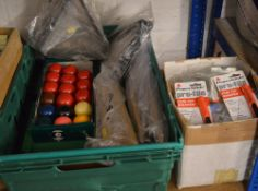 Various snooker/pool accessories including a miniature pool table, cues and balls,