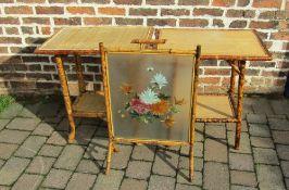 2 bamboo tables & a firescreen