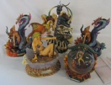 5 Boris Vallejo & Julie Bell resin fantasy figures inc pair of candlesticks complete with