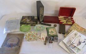 Various ceramics, Folio Society book, silver plate, cigarette cards,