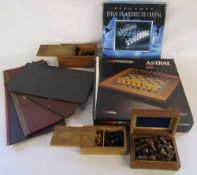 Various chess sets and boards