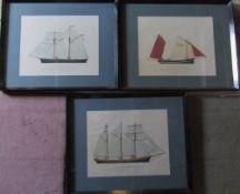 3 framed prints of ships drawn by John Gardner published by Hugh Evelyn - 'Result',