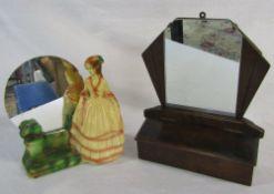 2 Art Deco mirrors - chalk crinoline lady & an oak hall mirror with drawer H 35 cm