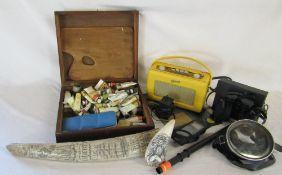 Artists paint box, Roberts radio, replica scrimshaw ware,