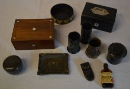 Various boxes including one inlaid with mother of pearl