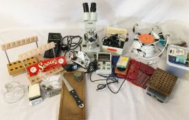 Watch & clock repairers tools & equipment etc including a Philip Harris microscope & a Bergeon