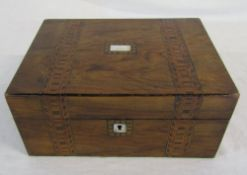 Parquetry work box with mother of pearl inlay L 27 cm