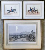 Framed Victorian print 'Ketch from the north' & a pair of prints of tribes men on horse back