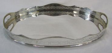 Large twin handle silver plated oval tray L 61 cm D 39.