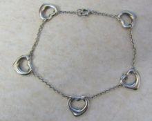 Tiffany & Co Elsa Peretti open heart silver bracelet L 7.