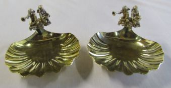 Pair of sterling silver scallop dishes overlaid in gold commemorating the birth and christening of