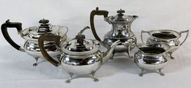 5 piece silver tea & coffee set including bachelor teapot.