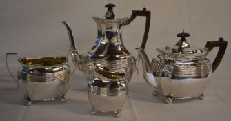 Late Victorian 4 piece silver tea set comprising of teapot, coffee pot, sugar bowl and cream jug,