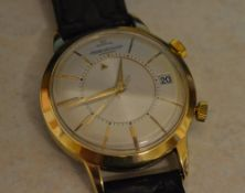 A rare gents Jaeger Le Coultre gold plated automatic Memovox 'alarm' wristwatch,