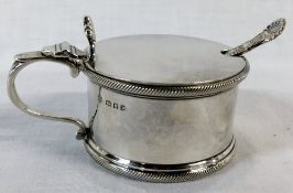 Silver mustard pot with blue glass liner (London 1935) & silver spoon (Sheffield 1902).