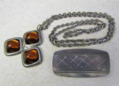 Jorgen Jensen Denmark handmade pewter brooch (970) L 53mm & a Jorgen Jensen Denmark pewter necklace