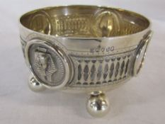 Victorian silver bowl with Egyptian and blank cartouches London 1873 weight 9.