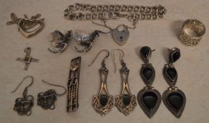 Quantity of 925 silver jewellery including earrings, ring etc - total approx weight 2.