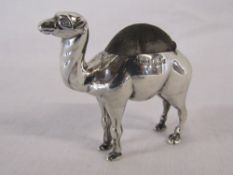 Silver standing camel pin cushion Birmingham 1906 maker Adie & Lovekin Ltd total weight 1.