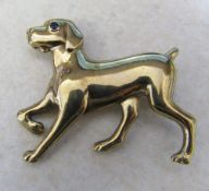 9ct gold labrador / dog brooch with sapphire eye weight 7.