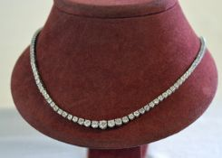 18ct white gold graduated diamond necklace set with approx 15ct of diamonds, 130 stones in total,