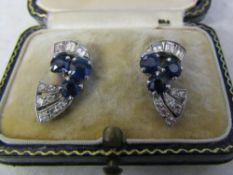 Pair of platinum (tested as) sapphire and diamond earrings L 16 mm