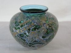 Isle of Wight studio glass 'Dragonflies' Graal lipped vase signed Timothy Harris 2006 H 11 cm D 12.