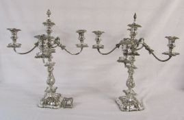 Pair of large silver plated 4 branch candelabra H 56 cm