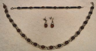 Silver and amber cabochon matching necklace,