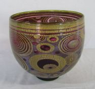 Large Isle of Wight studio glass 'Ruby Rings' Graal open bowl signed Timothy Harris 2005 complete