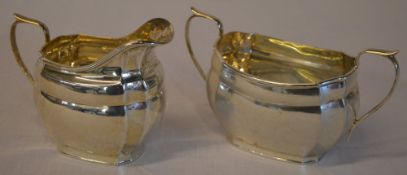 Matching silver sugar bowl and cream jug, total approx weight 13.