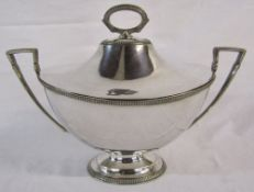 Large silver plated lidded tureen L 41 cm H 30 cm