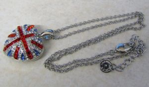 Butler & Wilson heart shaped Union Jack necklace and pendant (boxed)