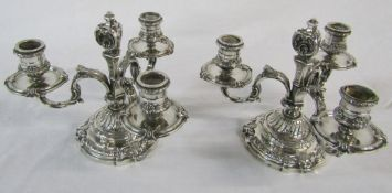 Pair of French silver 3 branch low candelabra marked Bointaburet a Paris (one candle holder