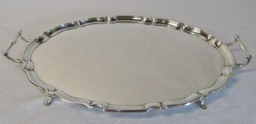 Large oval twin handled silver tray Chester 1919 maker Barker Brothers weight 102 ozt L 56 cm