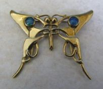 9ct gold Art Nouveau style butterfly brooch with black opals weight 7.