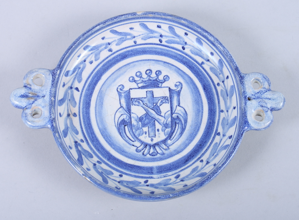 """Lot 23 - A Delft two-handled shallow cup, 7 1/2"""" wide"""