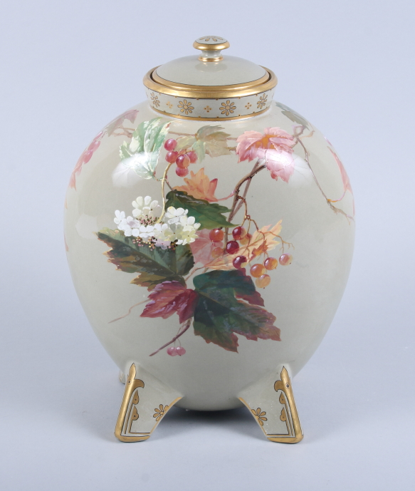 Lot 25 - An Aesthetic period Minton pottery moonflask and cover, with autumnal leaves and berries by