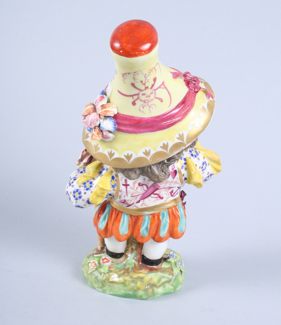 """Lot 24 - A pair of 19th century Derby porcelain Mansion House Dwarfs, inscribed """"N227"""" to base, 8"""" high ("""