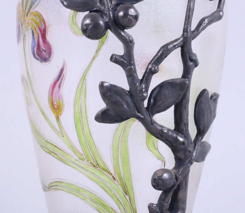 Lot 59 - A late 19th century WMF mounted French overlaid glass vase, the glass vase with overlaid floral