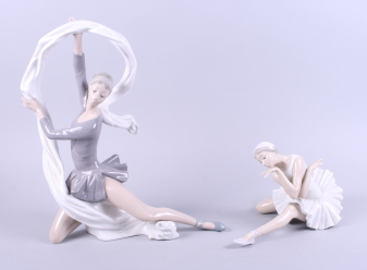 "Lot 31 - A Nao figure, ""The Art of Dance"", 13 1/2"" high, and a Lladro figure of a ballerina, 6 1/2"" high"