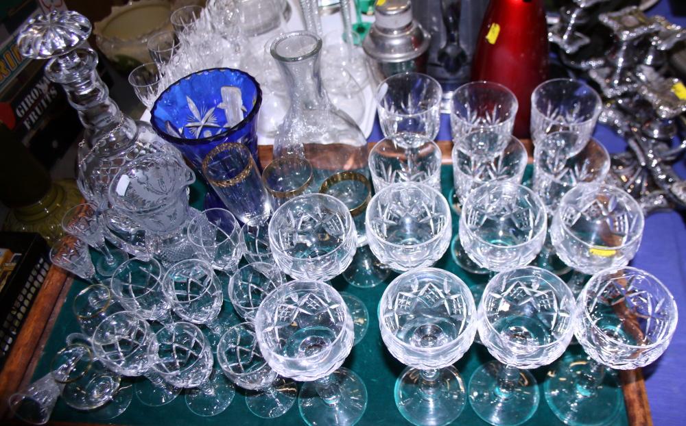 Lot 46 - Eight Stuart cut glass hocks, eight Stuart cut glass sherries, six cut glass ports, a decanter and
