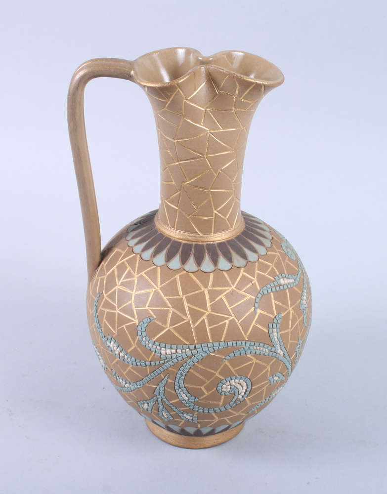 Lot 39 - A Doulton Lambeth silicon Eliza Simmance incised jug with cracked ice and mosaic decoration, 8 1/