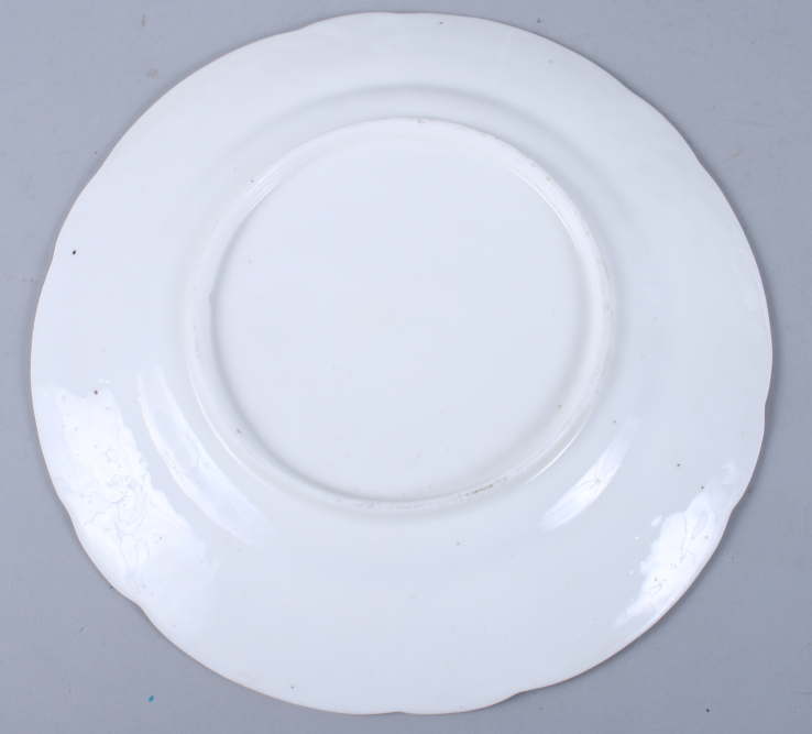 """Lot 13 - A Swansea porcelain dish, decorated floral sprays, 9"""" dia, two similar smaller and a similar"""