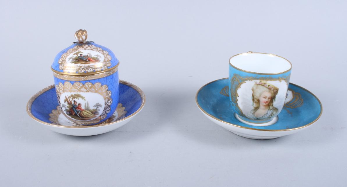 Lot 6 - A Sevres porcelain teacup, decorated female bust with gilt highlights on a bleu celeste ground, a