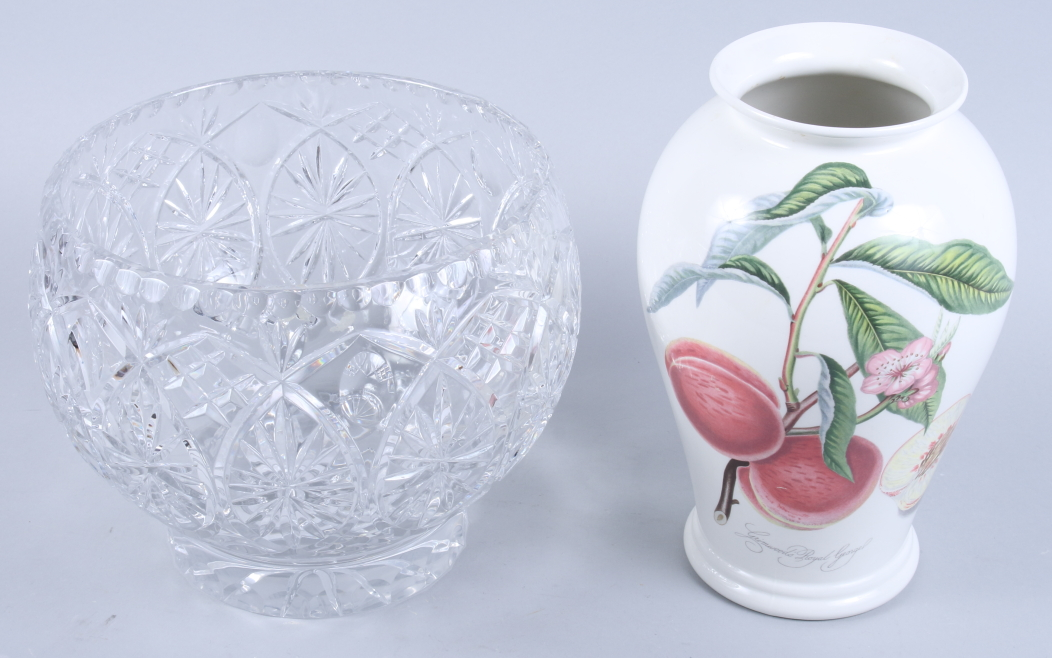 Lot 54 - A cut glass pedestal fruit bowl and a Portmeirion Pomona vase decorated peaches