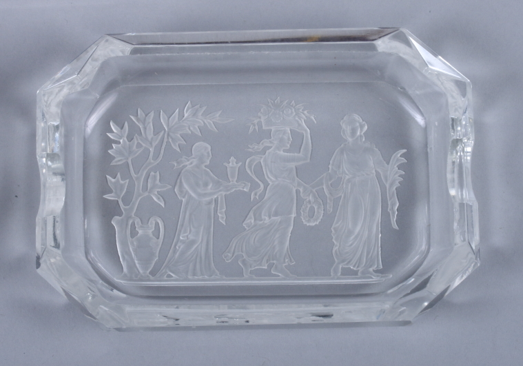 Lot 45 - Two early 20th century French glass ash trays with etched decoration of classical scenes and another