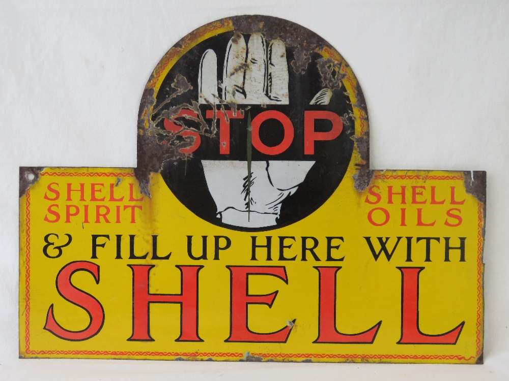 Lot 27 - A vintage enamelled tin plate Shell Spirit and Oils advertising sign 'Stop and fill up here with